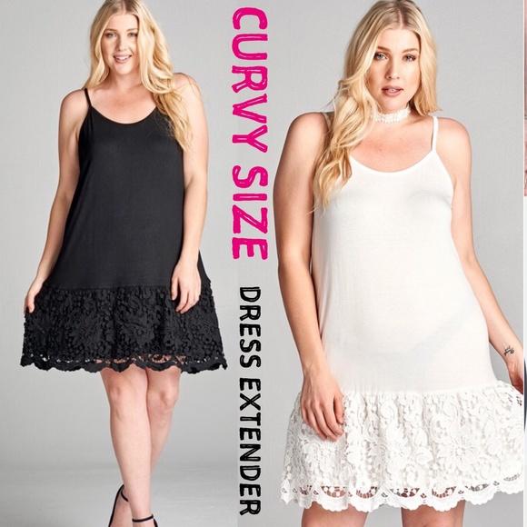 Plus Size Dress Extender Slip Scallop White Black Boutique